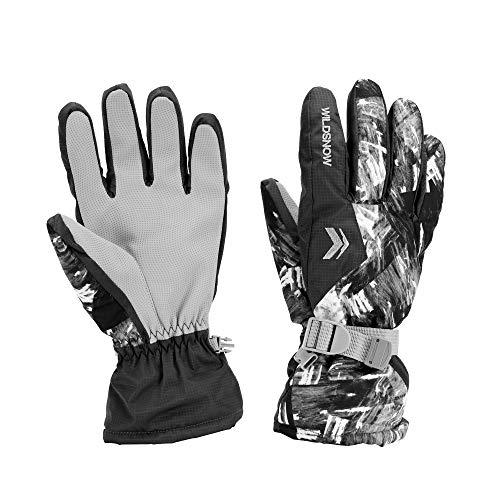 LAMA Winter Skihandschuhe Schi Snowboard Handschuhe Fingerhandschuhe Winterhandschuhe Fahrradhandschuhe Sporthandschuhe für Damen Herren Wintersport Skifahren Motorradfahren Radfahren Wandern Grau L