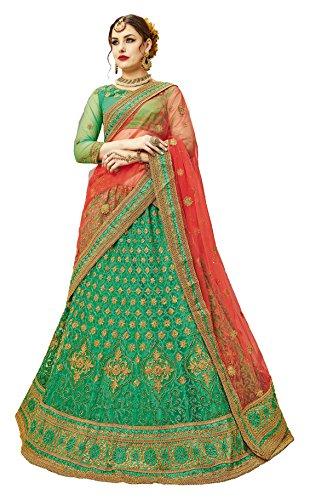 GAJIWALA SAREES Women's Net Unstitched Dress Material (Green & Red )