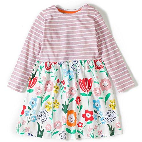 Mädchen Baumwolle Langarm Tier Cartoon Muster T-shirt Kleid - ca. Alter ab 2-8 Jahren (Rosa Kleid Baumwolle Shirt)