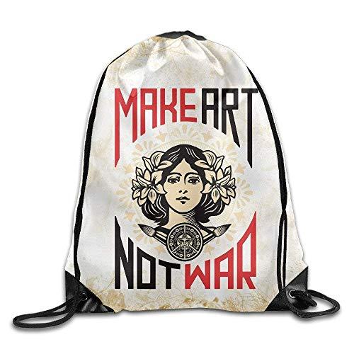DHNKW Make Art, Not War Training Gym Drawstring Backpack Sack Bag