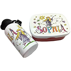 Brotdose mit Trinkflasche mit Namen im Set, Fee, personalisiertes Kindergarten-Frühstücksset, Rosirosinchen, Rosti Mepal