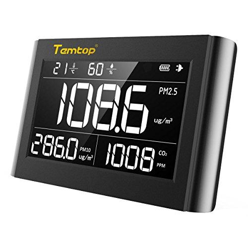 Luftqualität Messgerät-Hydrometer Feuchtigkeit Temperatur und Luftfeuchtigkeitsmesser Feinstaubmessgerät Digitales Detektor CO2 PM2.5 M10 TEMP Tester Thermo Hygrometer Raumluftüberwachung Portable