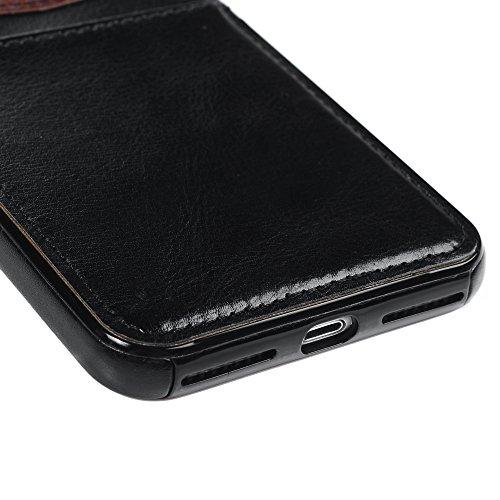 Mavis's Diary Coque iPhone 7 Plus (5.5'') Étui Housse de Protection PU Cuir + TPU Silicone Intérieure Dessin Coloré en Cuir Gaufré Antirayure Antichoc Coque Capotage Support Wallet et Carte Cran de Pr Noir