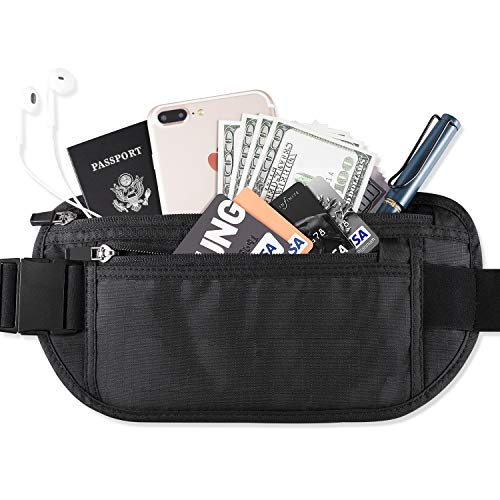 FREETOO Riñonera segura para el dinero con protección RFID Bolso de cintura seguro Cinturón Monedero Cartera oculta de viaje