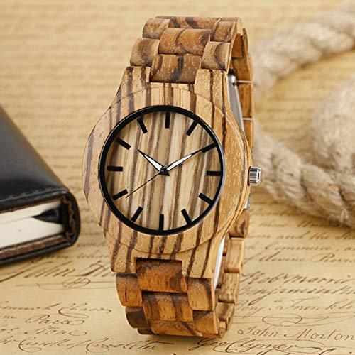 FANSWD Hölzerne Uhr Nature Entire Wood Men Armbanduhren Lässige Kreative Mode Holz Armreif Faltschließe Sport Cool Stripes Bamboo Clock