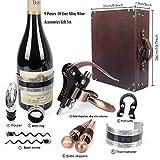 YOBANSA Antike Holzkiste Weinzubehör Geschenkset, Kaninchen Weinöffner, Weinkorkenzieher Weinverschluss und Weinausgießer Set(9set 0d) - 2