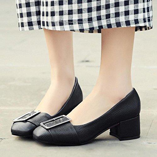 TAOFFEN Femmes Escarpins Classique Bloc A Enfiler Talons Moyen Chaussures De Boucle Noir