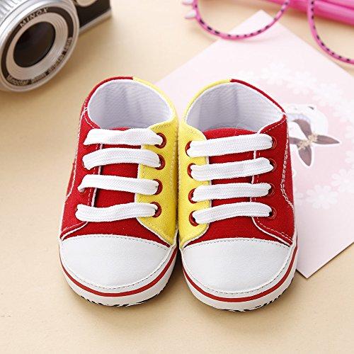 Hankiki Baby-Leinwand-Turnschuh Anti Skid weicher Trainer Schuhe Krabbelschuhe für Babys und Kinder 0-18 Monate A