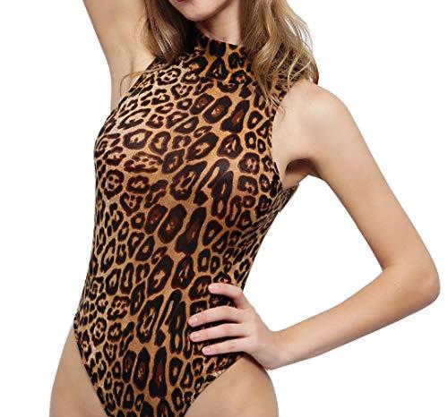 Body Elegante Mujer con Cuello Alto Bodysuit Sexy sin Mangas Tops Clubwear de Leopardo Mono Ropa