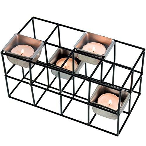 Incidence Paris 54514 PHOTOPHORE Cage RECTANGULAIRE - 4 Bougies - Black Line, Métal, Noir, 20,5 x 10,3 x 10,8 cm
