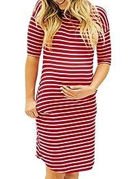 807f1f57745f MCYs Damen Umstandskleid Stillkleid Mutterschafts Kleid Streifen Kurzarm  Umstandsmode…