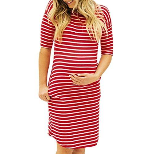MCYs Damen Umstandskleid Stillkleid Mutterschafts Kleid Streifen Kurzarm Umstandsmode Schwangerschafts Kleid Kurzarmes Rundhals Nachtwäsche Pregnants O-Ausschnitt Pflege Maternity (L, Rot)