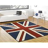 Alfombra moderna con la bandera inglesa, en varios tamaños -