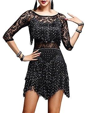 Vestido de danza YOUMU para mujer. Vestido de baile latino, salsa, tango o chachachá, mujer, negro, 2XL(EU L)...