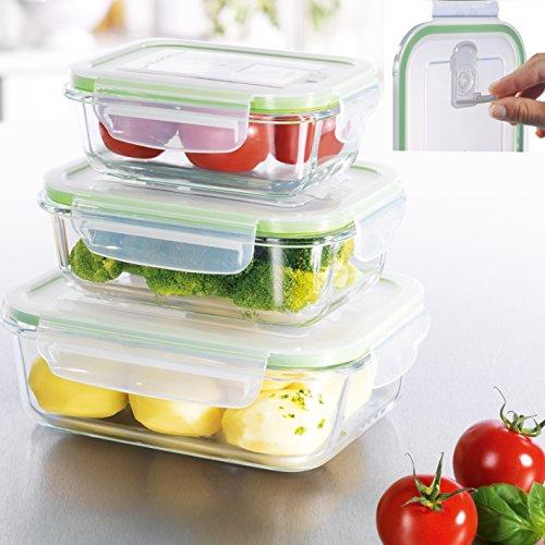 Glas-Frischhaltedosen 3er Set Glasbehälter mit luftdichten Frischeverschluss (1050,650,350ml), Vorratsdosen Mikrowellen, Tiefkühl und Spühlmaschinen geeignet Multifunktions Schale Dose ( BPA frei)