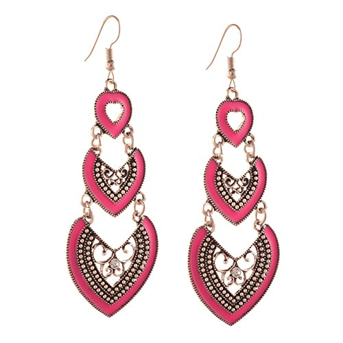 Zephyrr Jewellery Pierced Dangler Earrings with Enamel Work Zircons for Girls