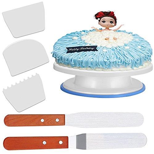 Damitech Torta Stand Piattaforma Girevole Rotante con 2 pezzi spatole per Torte e 3 pezzi Raschiatore di Smoothing Della Torta di Plastica, Giradischi Alzata Girevole Torta Decorazione Diametro 28cm - Bianco