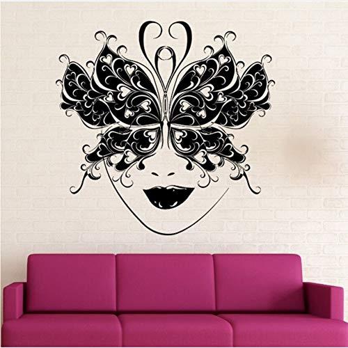 r Vinyl Removable Masquerade Ball Maske Wandtattoo Schmetterling Maske Dekor Kunst Wandbild Party Dekoration Tapete Kunst 57 X 56 Cm ()