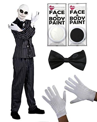 ILOVEFANCYDRESS ADULT'S NIGHTMARE-MR. JACK, HALLOWEEN-KOSTÜM, NADELSTREIFEN-ANZUG MIT FLIEGE, WEISS, FACEPAINT UND BALDCAP-IN 5 GRÖSSEN TV-SKELETON & COSTUME (Mr De Jack Halloween)