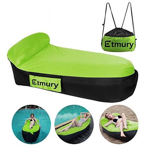 Etmury Luft Sofa, Aufblasbares Sofa mit Kopfteil 200 * 85 * 65 cm, Outdoor Wasserdichtes Sofa für Camping Strand Schwimmbad, Air Lounger Sofa Grün