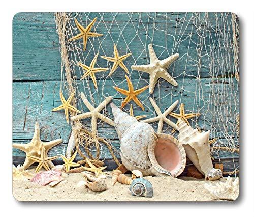 Seashell Conch Seestern Mauspad Angelnetze Strand Ocean Anti-Rutsch Gummi Mauspad Gaming Mauspad