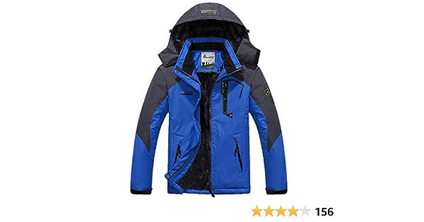 Coupe-Vent et Multi-Poches Memoryee Hommes Hiver Chaud Peluche Outdoor Softshell Capuchon Veste de Ski en Hiver