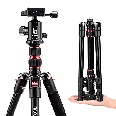 Bonfoto B690A Tragbare 53.5-Zoll-Leichtmetall Alluminum Kamera-Stativ Reisestativ mit 360-Grad-Kugelkopf, ein doppelte federnde Säule 1/4