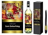 ALLES GUTE ZUM GEBURTSTAG. 1er Geschenkset KLASSIK Weisswein. Ein Geschenk mit Stil & Prestige in Golddruck das jeden begeistert. Hochwertiger Qualitätswein. Verschiedene Etiketten-Designs, aktuell: abstrakt