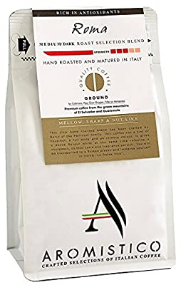 AROMISTICO | Finest Smooth Aroma Medium Roast | Premium Italian Ground Coffee | Roma Blend | for Cafetiere/French Press, Filter, Pour Over, Drip, Moka Pot or Aeropress | Mellow, Sharp and NUT-Like