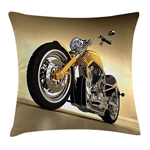 Motorcycle Throw Pillow Cushion Cover, Iron Custom Aesthetic Hobby Motorbike Futuristic Modern Mirrors Riding Theme, Decorative Square Accent Pillow Case, 18 X 18 inches, Yellow Silver Square Pie Iron