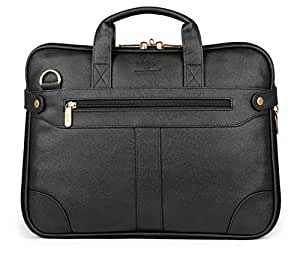 The Clownfish Royal Synthetic Leather Laptop Briefcase - | Laptop Bag | Messenger Bag (Black) with 365 Days Warranty