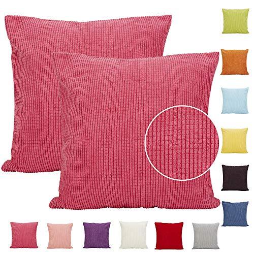 Comoco® Kissenbezüge für Dekorationskissen für das Sofa, aus Feincord, einfarbig gestreift, erhältlich in 15Farben und 7Größen, 2Stück, hot pink, 65x65cm -