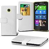 (Weiß) Nokia X Custom Designed Stilvolle Accessoires zur Auswahl Schutzmaßnahmen Kunst Credit / Debit-Karten-Leder-Buch-Art Wallet Case Hülle & LCD-Display Schutzfolie von Hülle Spyrox