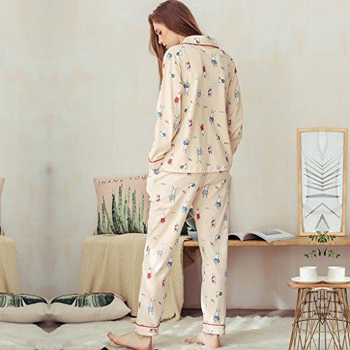 La signora beige ha lavorato a maglia i pigiami del cotone la ragazza sveglia del fumetto che lavora a maglia i vestiti casuali dolci dei manicotti lunghi ( Colore : Beige , dimensioni : Xl ) Beige