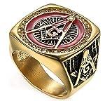 XiDDEE Aceite Rojo Retro Santo Gratuito Mason-masónico AG Sello de Oro del Diamante Smeared Anillos del Acero Inoxidable para Hombre