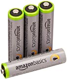 AmazonBasics 4 Pack AAA High-Capacity Rechargeable Batteries Pre-Charged (Typical 850mAh, Minimum 800mAh)