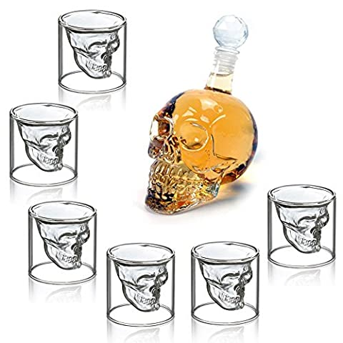 HOMFA Wine Decanter Set Skull Carafe with Stopper and 6 Whisky Shot Glasses