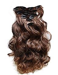 PRETTYSHOP XL 7 pièces SET tête entière Clipser dans les extensions Extension de cheveux postiche résistant à la chaleur ondulé brun mix # 4T30 CE9-1