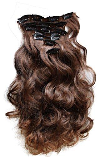 PRETTYSHOP XL 7 Teile Set Clip in Extensions 60cm Haarverlängerung Haarteil gewellt braun mix #4T30 - Haar-clip, Set