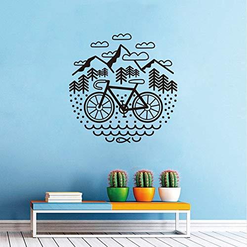 Svsnm Fahrrad Und Berge Wandtattoo Radfahren Kies Fahrrad Vinyl Wandaufkleber Outdoor Radfahren Wanddekor. (56 cm X 56 cm) Schwarz/Grün / Weiß