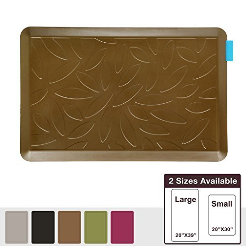 NUVA Salon Antislip Anti-fatigue Mats Antimicrobial >99.9%, Non-toxic Odor, Water Resistant, 30x20x0.75 inch., Various sizes & colors, Commercial Grade:10 years Warranty(Light Brown, Leaf Pattern) by Nuva