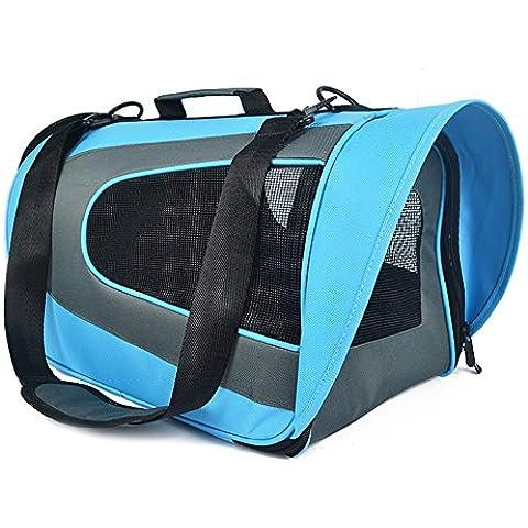 Borsa Trasportino Borsa per Cani - Trasportino Morbido per Cani e Gatti - Trasportino Pieghevole - Borsa porta-Cane - Dimensione:M(L * W * H):45 * 28 * 23cm,Color:Blu