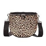 Fymia❤️❤️Frauen-Halbkreis-Leopard-Plüsch-Mini quadratische Taschen-Schulter-Umhängetasche