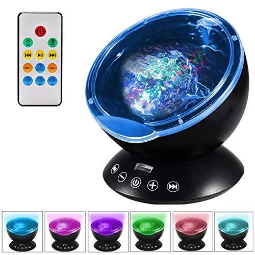 Ocean Wave Sternenhimmel Aurora LED Nachtlicht Projektor Lampe Neuheit USB Music Player Nachtlicht Für Baby Kinder LQCN-Schwarz -