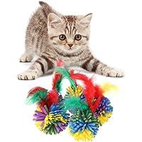 Longsw 5pcs Gato Juguetes EVA Flor Pelota Perros Cachorro Gatito interactiva Drôle con Pluma (Color