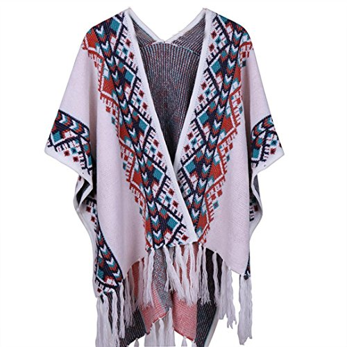 Damen Poncho Shawl, ZIYOU Cardigan Lang Schals Tücher Lady Quaste Winterschal Pullover Mantel Elegant (Grau)