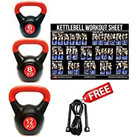 FXR SPORTS 26KG KETTLEBELLS GYM STRENGTH WEIGHTS VINYL KETTLEBELL SET