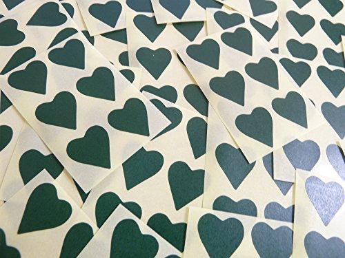 22x20mm Verde Oscuro Con Forma De Corazón Etiquetas, 90 auta-Adhesivo Código De Color Adhesivos, adhesivo Corazones para Manualidades y Decoración