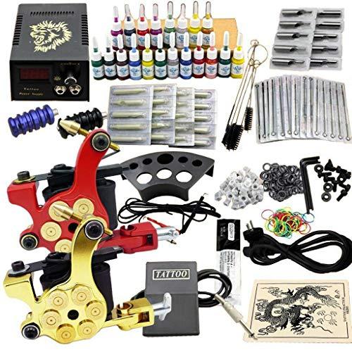 BTdahong Komplett Tattoo Kit 20 Farben Tätowierset 2 Tattoo Maschine Starter Set 50 Nadeln Griff (JM11)