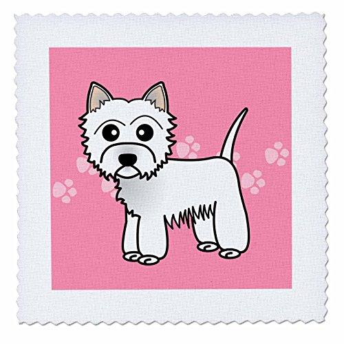 3drose QS _ 58605_ 1Cute Cartoon West Highland Terrier Westie Hund auf Pink Paw Prints Quilt Platz, 10von 25,4cm (Decke West Highland)